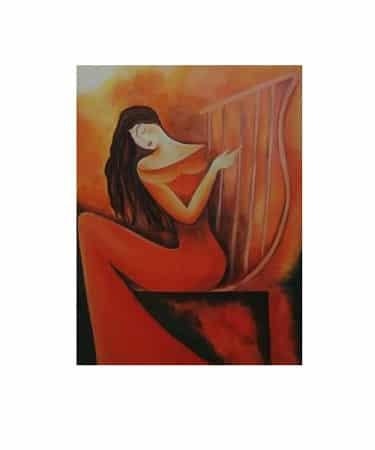 تابلو رنگ روغن زن چنگ نواز